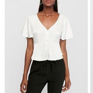 Express white short sleeve peplum blouse top